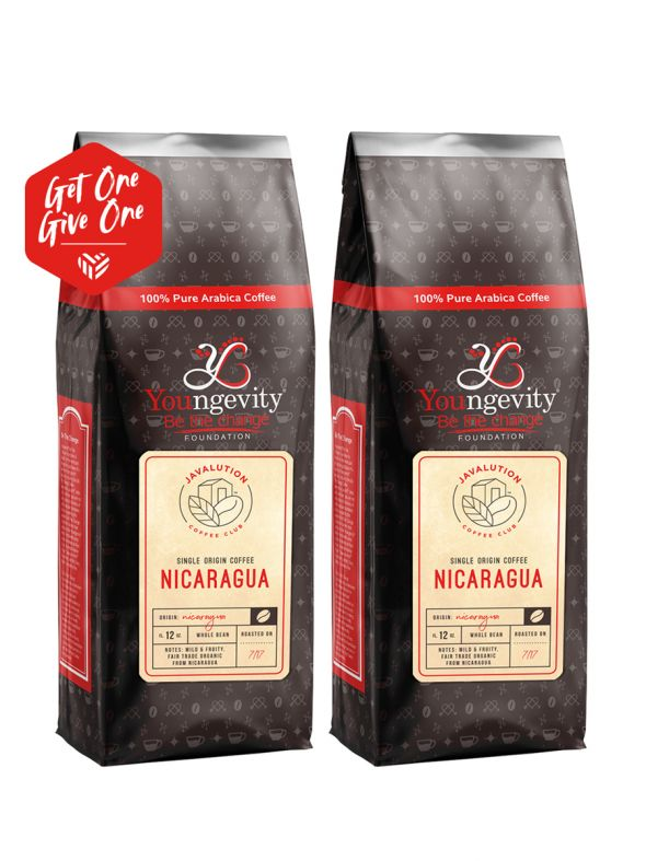 Javalution Club Single Origin Coffee Limited Edition—Nicaragua Whole Bean  (12oz) [QTY: 2   Get One, Give One FREE]